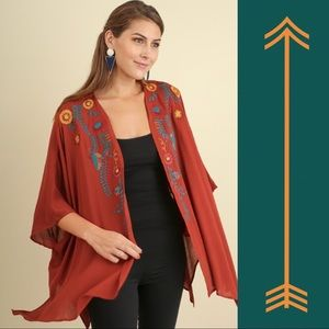 Umgee Open Front Floral Embroidered Kimono